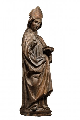 Sculpture of a Holy Bishop in limewood - Tyrol- 15th century