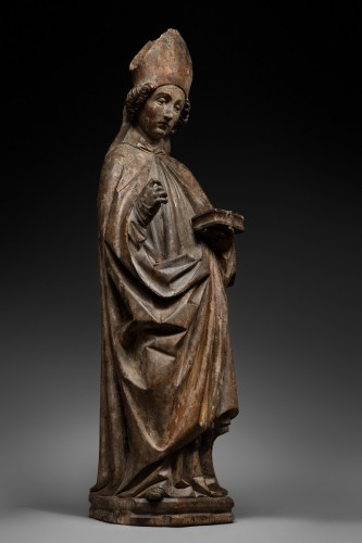 Holy Bishop in limewood - Tyrol - 15th century - Sculpture Style Middle age