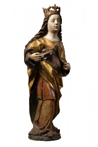 Sculpture of a Saint Catherine in limewood - Swabian- 15th century