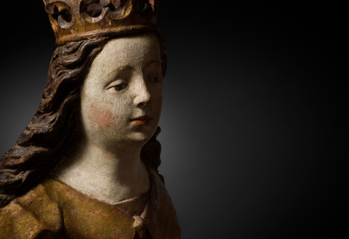 Sculpture of a Saint Catherine in limewood - Swabian- 15th century -