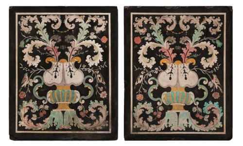 Pair of Baroque Scagliola - Italy, Carpi - 17th century