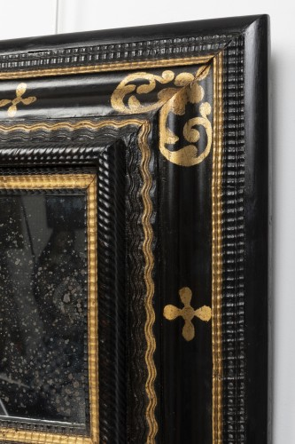 Mirrors, Trumeau  - Small black and gold mirror - Northern Italy - 17th century