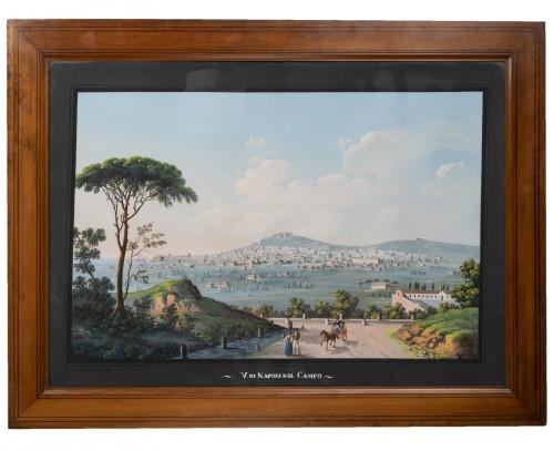 "Gouache ""V.di Napoli dal Campo"" by G. Scoppa - Naples End of the 19th"