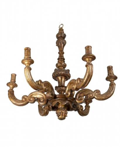 Gilded wooden chandelier - Northern Italy - Late 17th / early 18th century