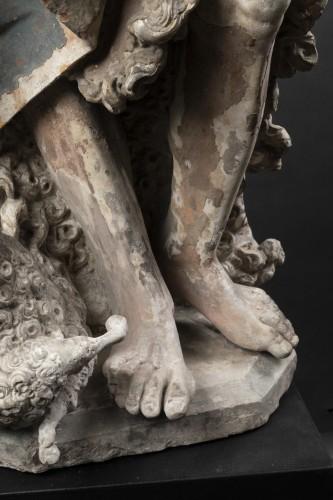 Sculpture  - Saint John the Baptist in limestone - Circa 1500