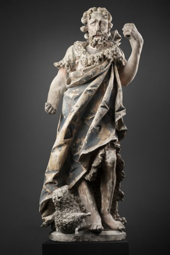 Antiquités - Saint John the Baptist in limestone - Circa 1500