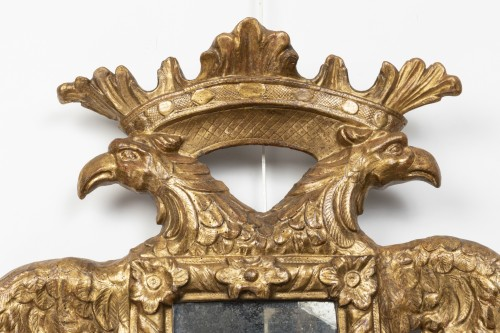 17th century - Mirror with two-headed eagle decoration - Austro-Germany - end of the 17th