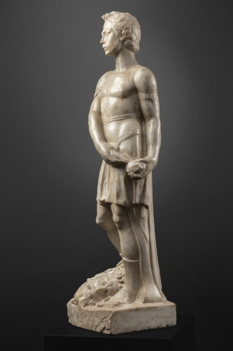 David and Goliath in Carrara marble - Tuscany - Second half of the 15th - Sculpture Style Renaissance