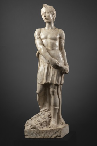 David and Goliath in Carrara marble - Tuscany - Second half of the 15th -