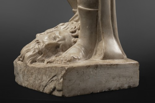 Antiquités - David and Goliath in Carrara marble - Tuscany - Second half of the 15th