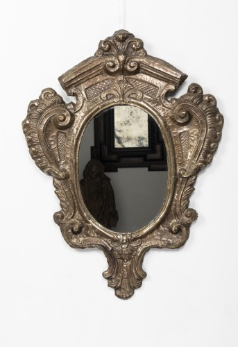 Pair of tinned copper mirrors - Italy - 18th century - Mirrors, Trumeau Style