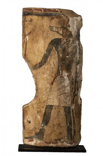 Fragment of a sarcophagus with an Anubis figure  Egypt - 18th dynasty