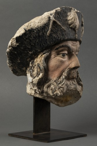 Head of James the Great in stone - Burgundy - Second half of the 15th -
