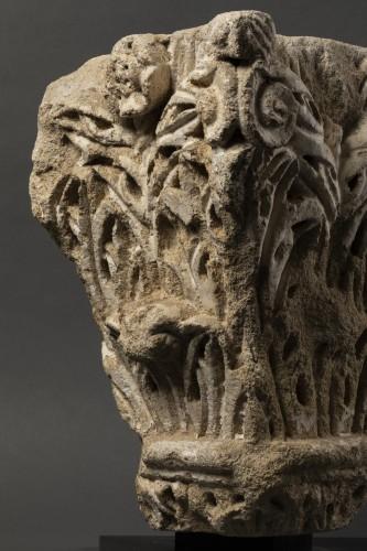 Roman corner capital - France - 11th century  - Sculpture Style