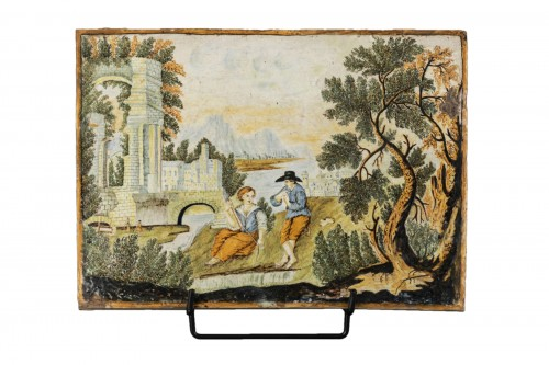 Majolica plaque - Castelli - early 18th century