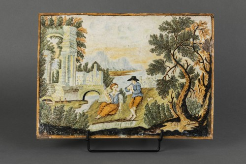 Porcelain & Faience  - Majolica plaque - Castelli - early 18th century