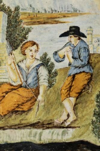 18th century - Majolica plaque - Castelli - early 18th century