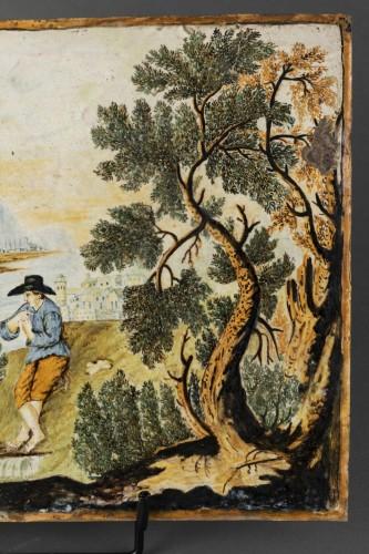 - Majolica plaque - Castelli - early 18th century