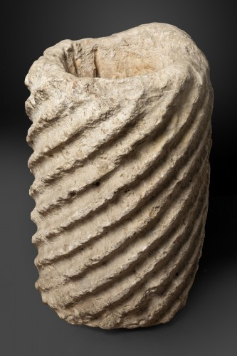 Fragment of a fluted marble torso column - Roman Empire - 5th century AD -