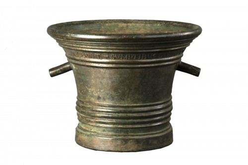 Bronze mortar - Aquila - dated 1738