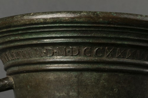 Bronze mortar - Aquila - dated 1738 -
