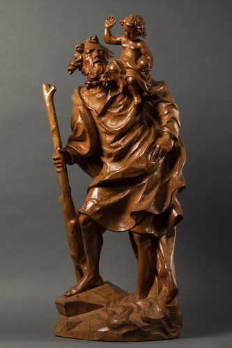 Wooden Saint Christopher - Austria - late 17th/early 18th century - Sculpture Style