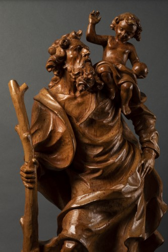 Wooden Saint Christopher - Austria - late 17th/early 18th century -