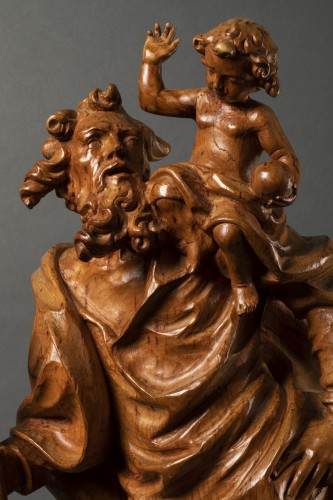 Antiquités - Wooden Saint Christopher - Austria - late 17th/early 18th century