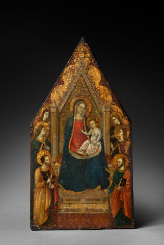 "Virgin in majesty with a ""golden background"" - Tuscan Primitive - 14th cent - Paintings & Drawings Style"