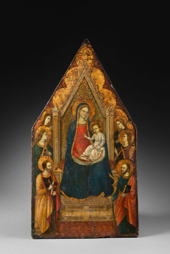 "Paintings & Drawings  - Virgin in majesty with a ""golden background"" - Tuscan Primitive - 14th cent"