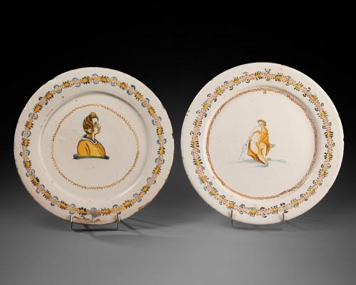 "- Two dishes ""a compendiario"" - Castelli - 17th century"