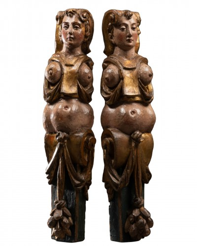Pair of caryatids - Italy 16th century