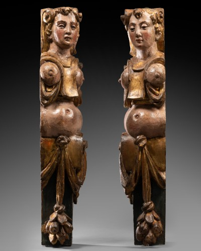 Pair of caryatids - Italy 16th century - Sculpture Style Renaissance