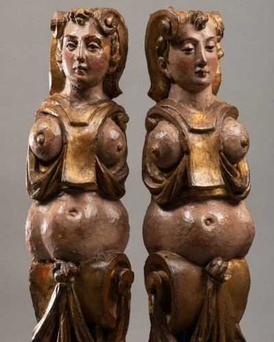 Sculpture  - Pair of caryatids - Italy 16th century