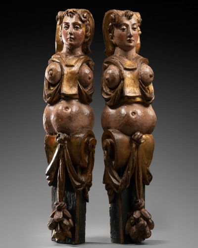 Antiquités - Pair of caryatids - Italy 16th century