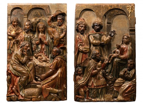 Two altarpiece panels - Spanish Renaissance - 16th century