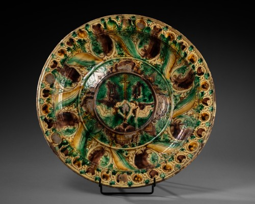 Dish two angels - Castelfiorentino - 16th century  - Porcelain & Faience Style