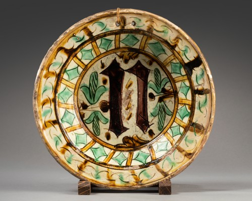 """Porcelain & Faience  - Small gothic dish """"N"""""""