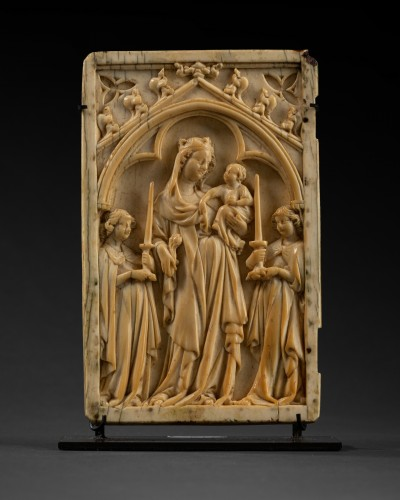 Left sheet of a diptych  in Ivory - France - circa 1340 - Religious Antiques Style