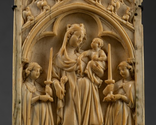 Antiquités - Left sheet of a diptych  in Ivory - France - circa 1340