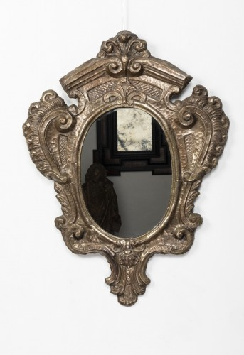 Pair of tinned copper mirrors Italy - 18th century - Mirrors, Trumeau Style French Regence