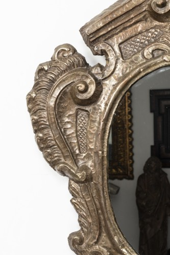 Mirrors, Trumeau  - Pair of tinned copper mirrors Italy - 18th century