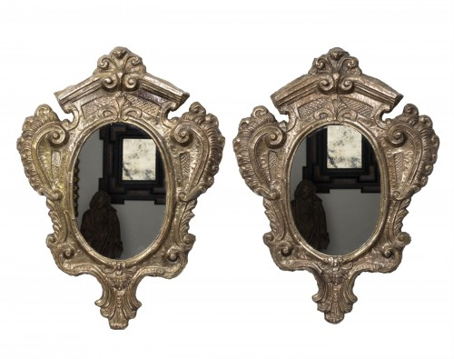 18th century - Pair of tinned copper mirrors Italy - 18th century