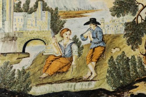 Plaque en majolique - Castelli - début du XVIIIe siècle - Porcelain & Faience Style