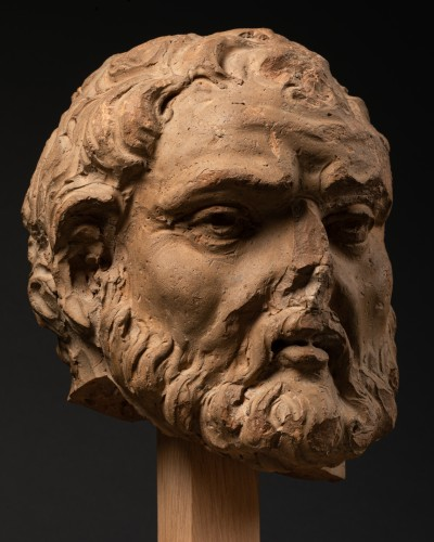 Antiquités - Study of a terracotta head, representing Hercule -Italy - Late 15th century
