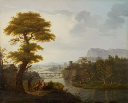 François-Nicolas DUPUIS - Daphnis and Chloe on the Banks of the Tiber with Psyche and Pandora in the