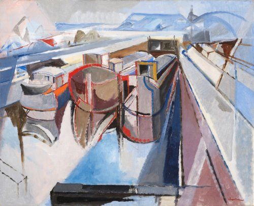 Jacques CERIA says DESPIERRE (1912-1995)  - Houseboats on the Seine