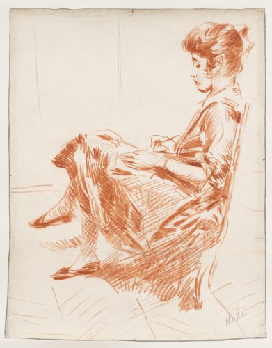 The artist's daughterdrawing  - Paul César HELLEU (1859-1927)