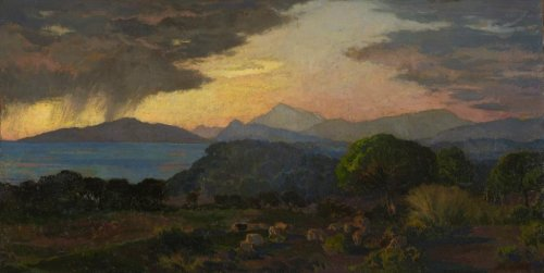 Pastoral Scene at Twilight, storm Effects, Émile René MENARD