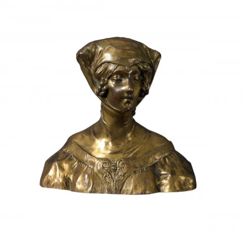 Suzanne BIZARD ( 1872 - 1963) - Woman in medieval costume, Bronze figure